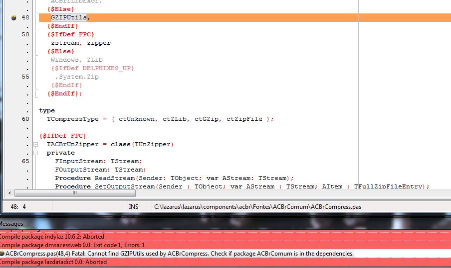 Lazarus 1 7 FPC 3 1 1 não compila ACBr GZIPUtils - Dúvidas