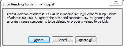 Erro Access Violation at address in module ACBr_NFeDanfeFR